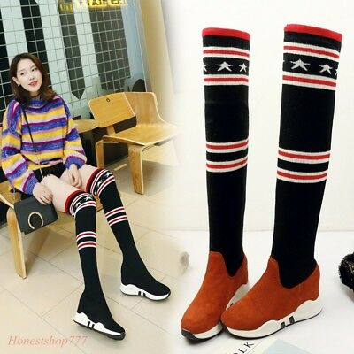 Hot Sale Women's Thigh Boots Over Knee High Sneakers Sport Slim Winter Boots SZ