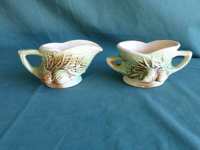 Vintage McCoy Pine Cone Pattern Cream Pitcher and Sugar Bowl
