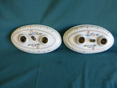 Two Vintage Early to Mid 1900's Surface Mounted Ceiling Porcelain Light Fixtures