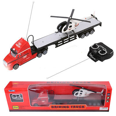 Red Remote Control RC Big Semi Trailer Truck W/Helicopter Kids Toy Music Light