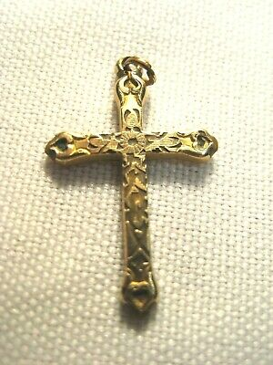 """VINTAGE SMALL ORNATE DESIGN CRUCIFIX CROSS-12K GOLD FILLED-5/8"""" x 1""""-AS SHOWN"""