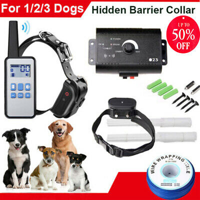 Electric Wireless Pet Fence Dog Hidden Barrier Boundary Collar Set For 1/2/3 Dog