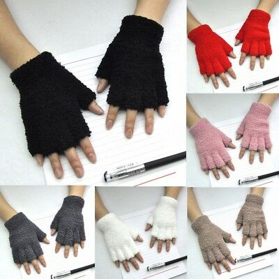 Unisex Gloves Mitten Fingerless Fleece Half-Fingers Fuzzy Adult Warm Winter Sale
