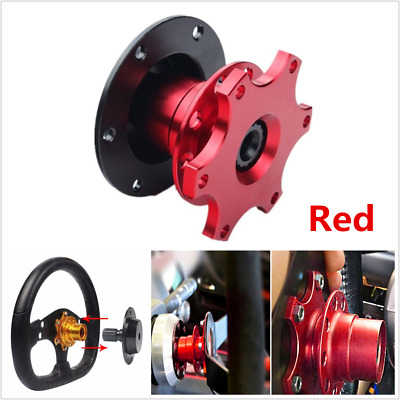 Red 6 Hole Car Steering Wheel Quick Release HUB Racing Adapter Snap Off Boss Kit