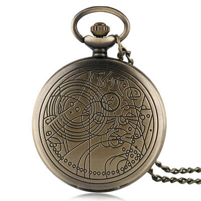 Vintage Pattern Full Hunter Doctor Who Quartz Pocket Watch Necklace Chain Gifts