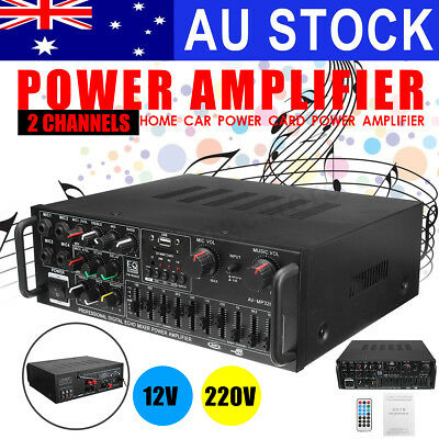 AU 1000W Car 2CH Channel Digital Power Amplifier HiFi Stereo Karaoke AMP FM SD