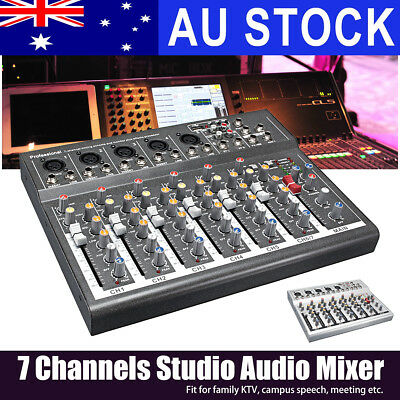 AUS 7 Channel Professional Live Studio Audio Mixer Sound Mixing DJ USB Console