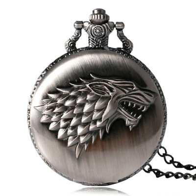 Vintage Game of Thrones Strak Family Winter is Coming Design Pocket Watch Gifts