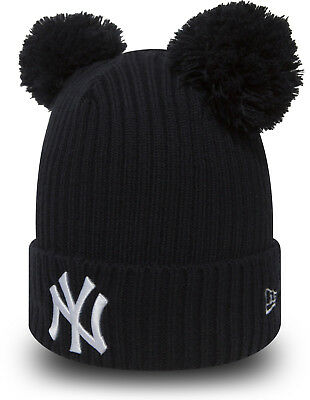 5a84fca5564 New Era MLB Beanie new York Yankees Womens Double Pom Pom Bobble Navy  Fitted Hat