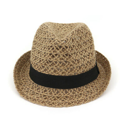 Sun Beach Cap Men Women Paper Straw Hat Unisex Panama Summer Large Brim  Jazz Cap 58074a199b53