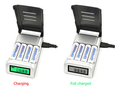 4 Slots Smart LCD Display Fast Charging AA/AAA Intelligent Battery Charger Black