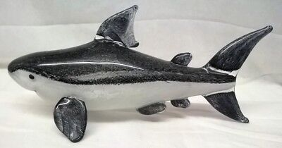 Art Glass Large Grey Shark Figure - Juliana Objets D'art Sea Animal 62397