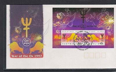 CHRISTMAS IS  1997  Year of the OX  MINISHEET on FDC.