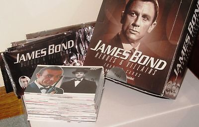 MINT James Bond 007 Heroes & Villains #'d Empty Box wrappers and 81 Card set