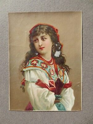 VICTORIAN SCRAP Cut out Picture Dark Haired Girl Gypsy Ethnic Dress Costume