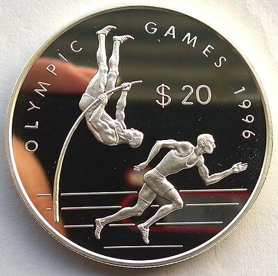 Cook 1993 Olympics 20 Dollars Silver Coin,Proof