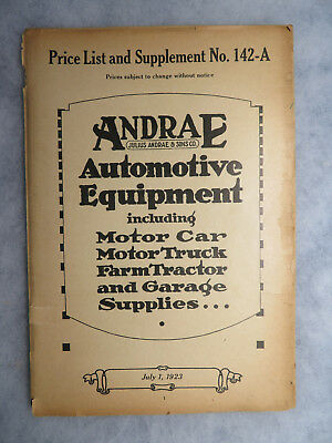 1923 Andrae Automotive Equipment Motor Car Truck Tractor Supply Price Catalog