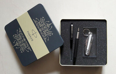 Parker Vector Matte Black Fountain Pen CT, Gift Box Edition with Knife
