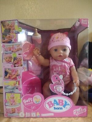 Baby Born Interactive Doll Girl Pink Function Soft Touch Drink Cry Wet Sleep Eat