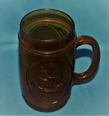 Vintage Plymouth Rock The Mayflower Brown Glass Mug Souvenir 5 1/2""