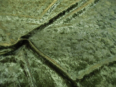 Discount Fabric Crushed Stretch Velvet Olive Green O400