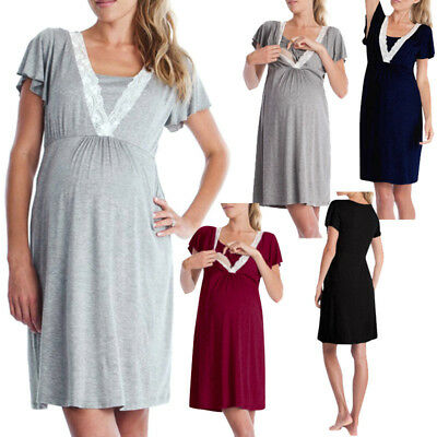 Women Maternity Nursing Summer Pregnancy Mini Casual Loose Pajamas Dress WD
