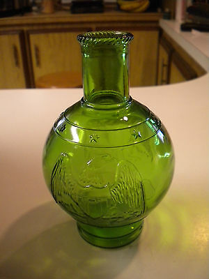 Vintage Wheaton Green Glass Bottle with Eagle & Star Pattern, 6 inch (MD)