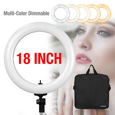"""Photo Studio 18"""" Dual-Color Dimmable Ring Light LED Continuous Studio Photo Kit"""