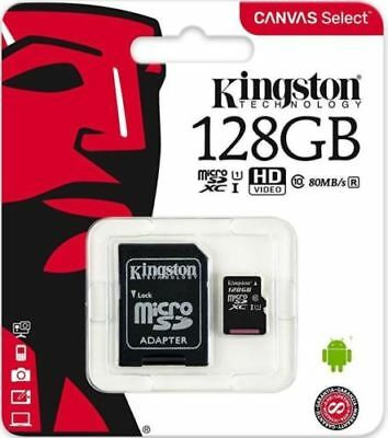 Kingston 128GB Micro SD SDXC SDHC Memory Card Class 10 UHS-I 80MBs with adapter