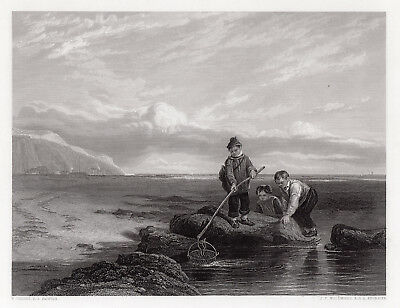 """Fabulous William Collins 1800s Engraving """"Young Prawn Fishers"""" SIGNED Framed COA"""