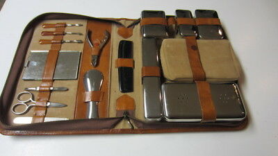 Vintage Travel Grooming, Containers, Nail Set / Kit in Zippered Case
