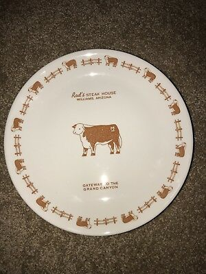 Vintage Rod's Steak House Syracuse China Restaurant Plate Willams Arizona