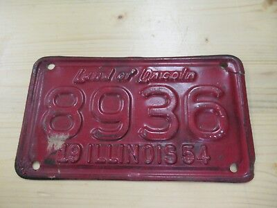Vintage Chicago Illinois Motorcycle License Plate 1954 Tag Number 8936