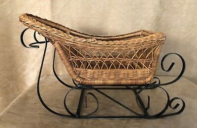 Wicker DISPLAY sled centerpiece doll bear wrought iron basket holiday