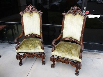 Pair Of 1920's Carved Country French Style High Back Arm Chairs W/ Green Velvet