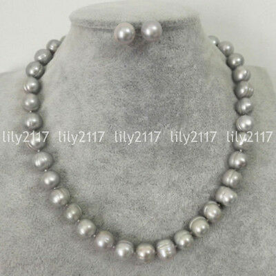 Beautiful Natural 9-10mm Gray Freshwater Cultured Pearl Necklace Earring Set AAA