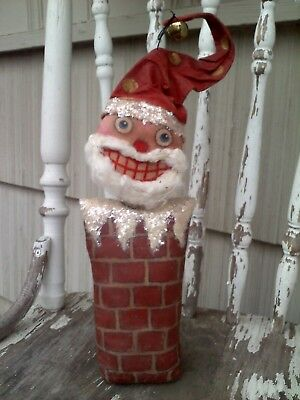 MADE TO ORDER Primitive Folk Art Santa Claus In Chimney Nodder Christmas Doll