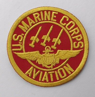 Us Marine Corps Usmc Marines Aviation Embroidered Red Gold Patch 3 Inches