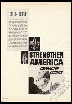 1961 Boy Scouts scout art Strengthen America Character Counts vintage print ad