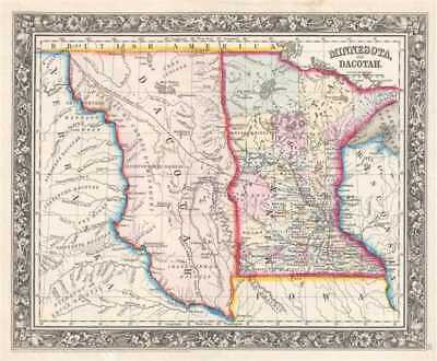 1861 Mitchell Map of Minnesota and the Dakotas