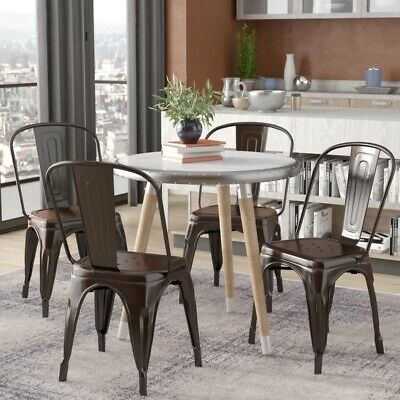 Set of 4 Metal Dining Chair Industrial Stackable Wedding Reception Stools