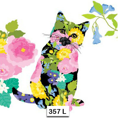 (357) TWO Individual Paper Luncheon Decoupage Napkins - FLORAL CAT KITTEN FLOWER