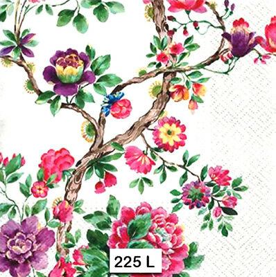 (225) TWO Individual Paper Luncheon Decoupage Napkins - BRANCHES, FLOWERS