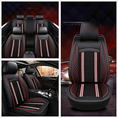 Black&Red Waterproof PU Leather Car Interior Seat Covers Universal Seats Cushion