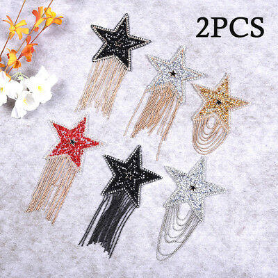 2-Pack Star Patches Hotfix Rhinestone Trim Iron On Crystal Motifs Applique Craft