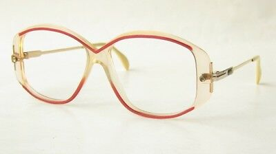 VINTAGE 80s CAZAL W.GERMANY CLEAR RED WHITE OVAL SUNGLASSES EYEGLASSES FRAME 160