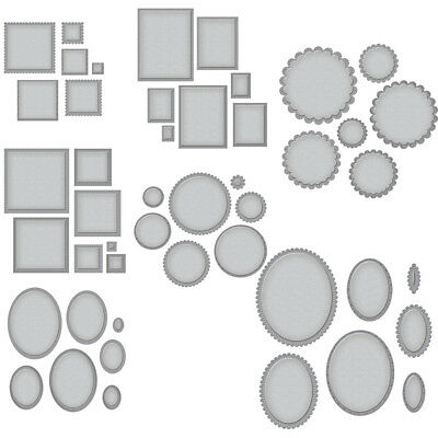 Circle Rectangle Frame Set Cutting Dies Stencil DIY Scrapbooking Embossing Craft