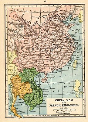 1931 Antique Map of China French Indochina Siam Map of Thailand smap 5975