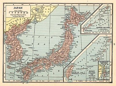 1931 Antique Map of Japan Original Vintage Japan Map Gallery Wall Art smap 5976