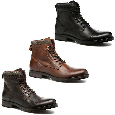 JACK /& JONES chaussures boots JFW SIRCA LEATHER MID BOOT BROWN STONE cuir marron